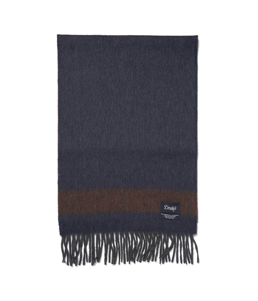 Drake's Blue and Brown Weft Stripe Scarf