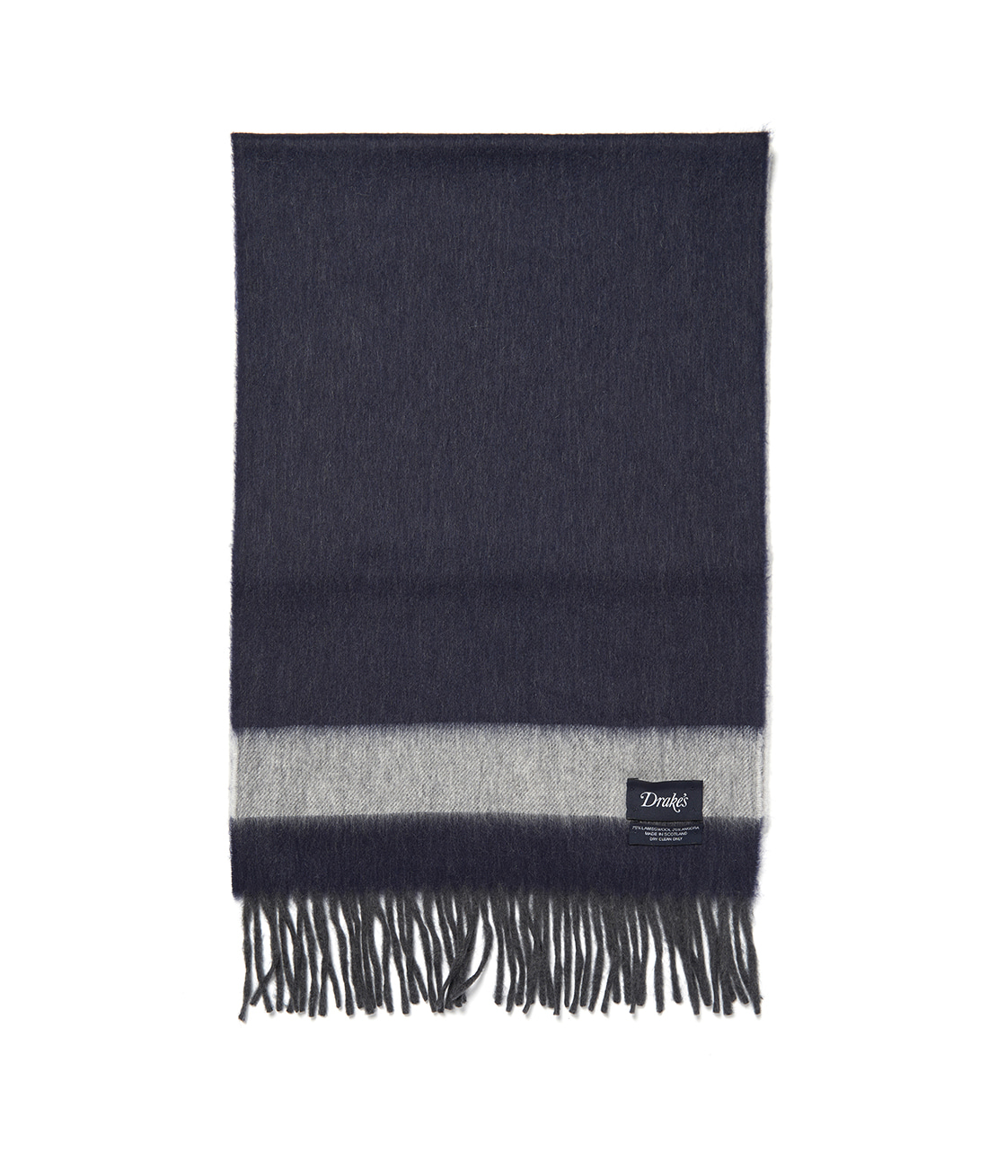 Drake's Navy and Grey Weft Stripe Scarf
